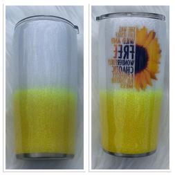 Sunflower Glitter Tumbler 20oz Wild and Free