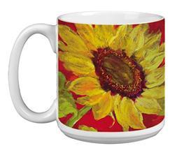 Sunflower Prima Donna Extra Large Mug, 20-Ounce Jumbo Cerami