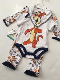 Disney Tigger Baby Boy Bodysuit Coverall Sleeper Bib Size 3