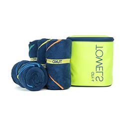 TUKO Microfiber Beach Towel Set with Bag Holder
