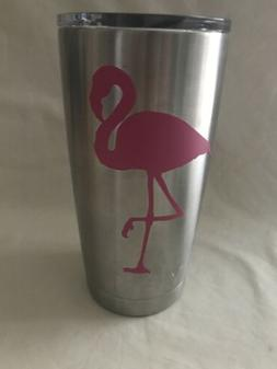 YETI Tumbler Rambler Flamingo Decal 20 oz Stainless Vacuum I