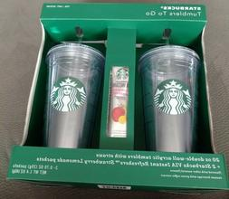 Starbucks Tumblers To Go 20oz w/ Straws + 2 VIA Instant Stra