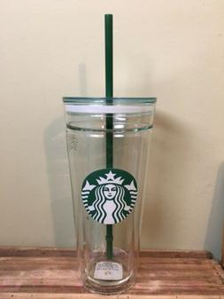 Starbucks Venti Clear Glass Double Wall Cold Cup Tumbler 20
