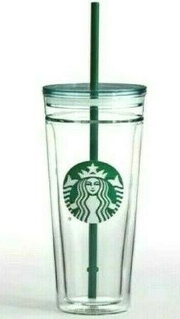 RARE NEW Starbucks VENTI 20oz CLEAR GLASS Double Wall Cold/I