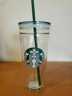 Starbucks Venti Clear glass Double Wall Cold/Iced Cup Tumble