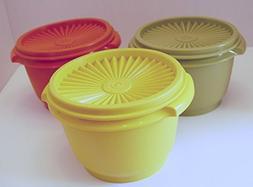 Set of 3 Vintage Tupperware Harvest Colors Servalier 20 Ounc